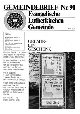 Gemeindebrief 91 Juli 1974