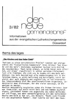 der neue Gemeindebrief 3/82