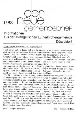 der neue Gemeindebrief 1/83