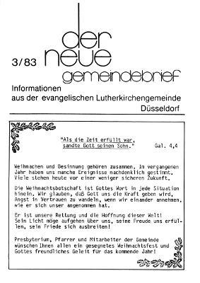 der neue Gemeindebrief 3/83