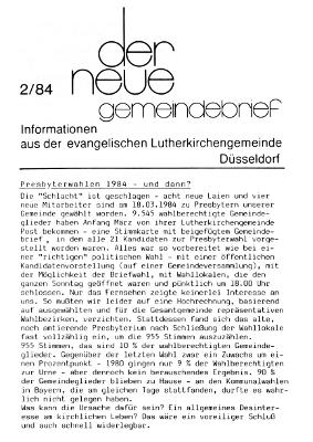 der neue Gemeindebrief 2/84
