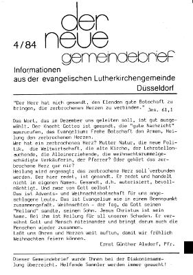 der neue Gemeindebrief 4/84