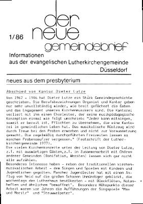 der neue Gemeindebrief 1/86