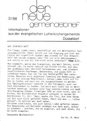 der neue Gemeindebrief 3/86