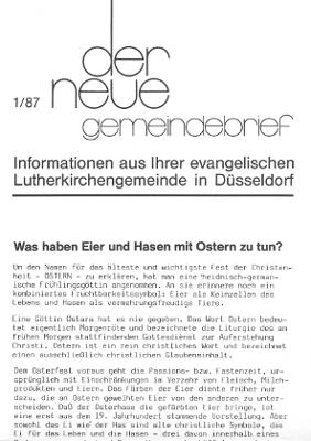 der neue Gemeindebrief 1/87