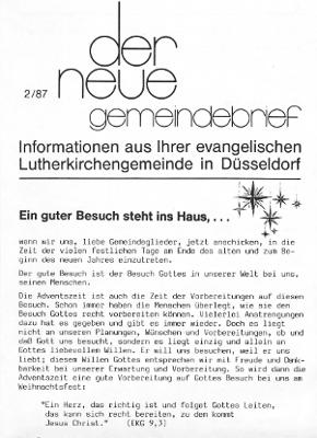 der neue Gemeindebrief 2/87