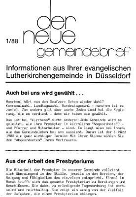 der neue Gemeindebrief 1/88