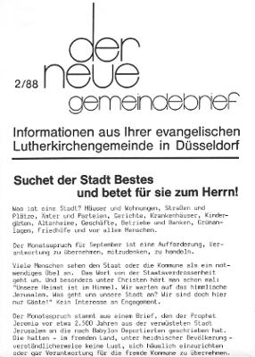 der neue Gemeindebrief 2/88