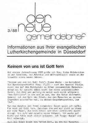 der neue Gemeindebrief 3/88