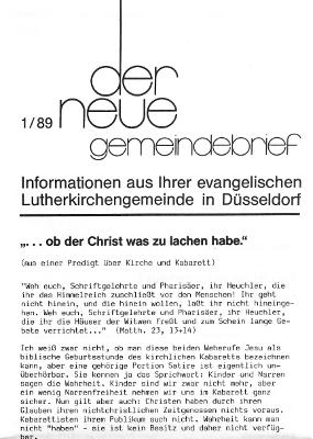 der neue Gemeindebrief 1/89