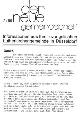der neue Gemeindebrief 2/89
