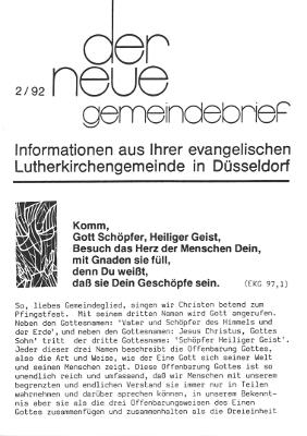 der neue Gemeindebrief 2/92