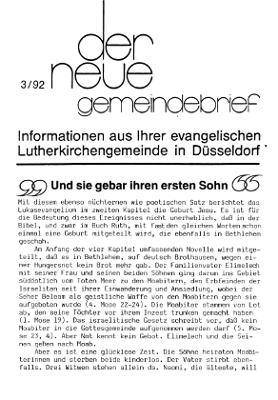 der neue Gemeindebrief 3/92