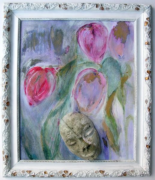 """Bild von Ingard Nabe-Boskamp """"Motiv4 (Blüten und Maske)"""""""